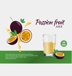 Design template for ads passion fruit juice vector
