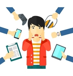 Desperate man with gadgets vector image