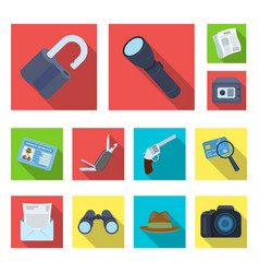 Detective and attributes flat icons in set vector