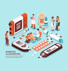 diabetes isometric composition vector image