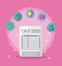 Document of tax with economy and financial icons vector