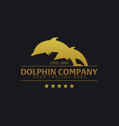 Dolphin company logo or emblem logo vector