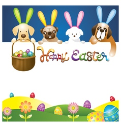 Easter Eggs in Basket with Various Dogs as Bunnies vector image