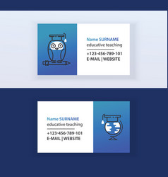 educative teaching set of business cards vector image