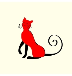 Elegant red cat ornament vector