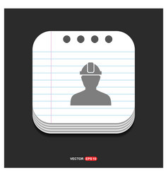 engineer user icon gray icon on notepad style vector image