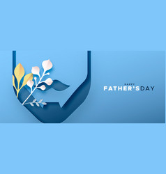 Fathers day banner papercut beard and nature leaf vector