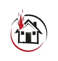 Fire on the house icon vector