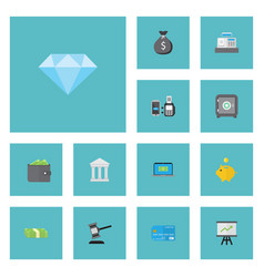 Flat icons jewel gem billfold growing chart and vector