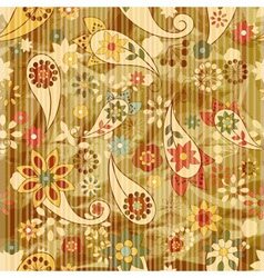 Floral wallpaper on striped background vector