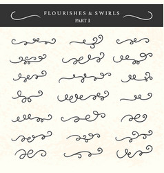 Flourishes swirls curls and scrolls set vector