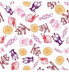 Food hand-drawn sketch line icons seamless pattern vector