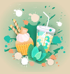 fresh muffin with cocktail logo cake sweet vector image