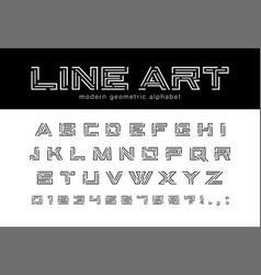 geometric line art font technology futuristic vector image