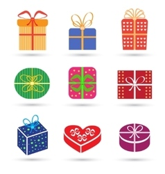Gift box colorful icon set different styles vector image