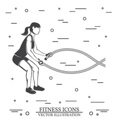 girl do exercises with battle ropes vector image