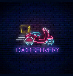 Glowing neon food delivery sign with delivering vector