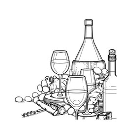 graphic glasses of wine bottles grapes and vector image