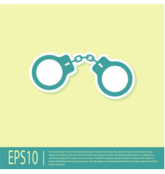 Green handcuffs icon isolated on yellow background vector