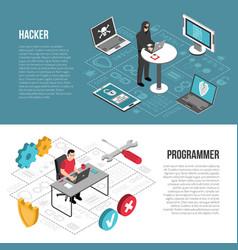Hacker programmer isometric banners vector