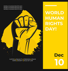 Hand drawn fist raise up human rights day poster vector