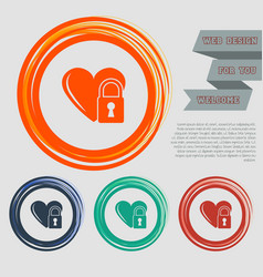heart lock icon on the red blue green orange vector image