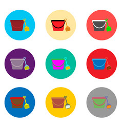 icon logo for set symbols bucket and vector image