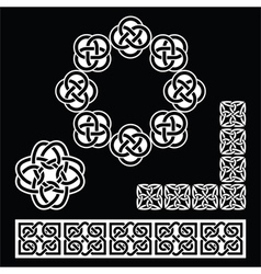 Irish Celtic patterns knots and braids on black vector