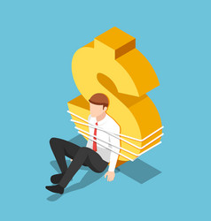 isometric businessman tied to a dollar sign vector image