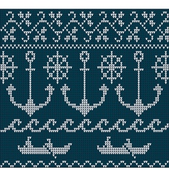 knitting pattern sweater sea ornament vector image