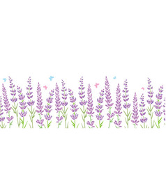 Lavender flowers frame border seamless pattern vector