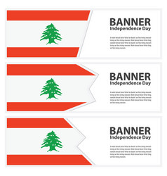 lebanon flag banners collection independence day vector image