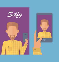 man with beard making selfie vector image