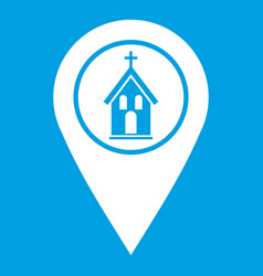 Map pointer with church icon white vector