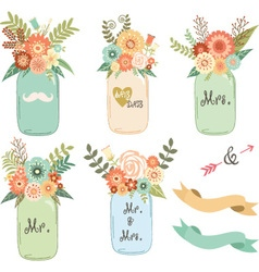Mason jar wedding flower collections vector