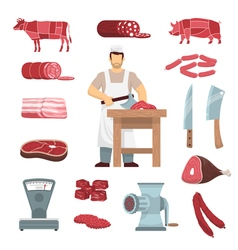 Meat Butcher Set vector