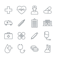 medical icons set line icons medicine vector image