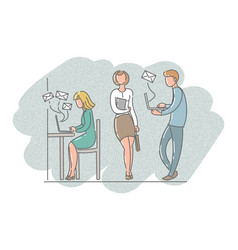 Men and women in the office work with laptops vector
