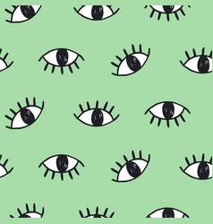Modern hand drawn eye doodles seamless pattern vector