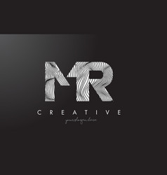 Mr m r letter logo with zebra lines texture vector