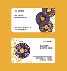 Musical accessories set business cards vector