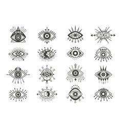 Mystical eyes symbols set esoteric signs vector