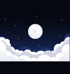 Night sky with clouds stars and crescent moon vector
