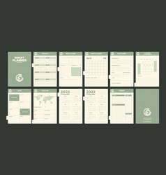 Notebook pages daily planner book with calendars vector