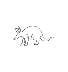 One single line drawing exotic aardvark vector