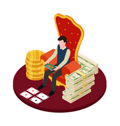 Online casino with banknotes coins and man with vector