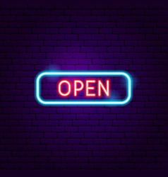 open sign neon label vector image
