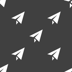 Paper airplane icon sign Seamless pattern on a vector image