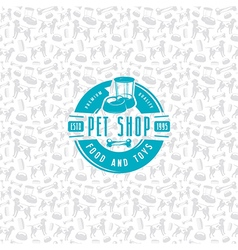Pet shop seamless pattern and label vector