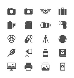 photography glyph icons vector image